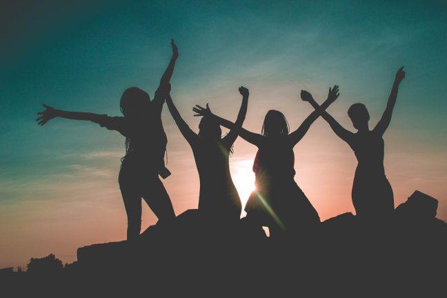 Women jumping